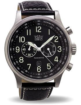 Davis 0450 - Herren Fliegeruhr Chronograph Wasserdicht 50M Ziffernblatt Schwarz Datum Lederarmband Schwarz