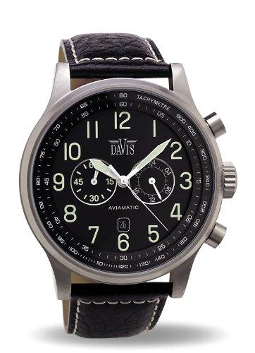 Davis -0450- Orologio Uomo Aviatore 48 mm - Cronografo Stagno 50 M -...