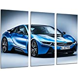 Cuadro Moderno Fotografico Coche Deportivo BMW i8 Azul, 97 x 62 cm, ref. 26447