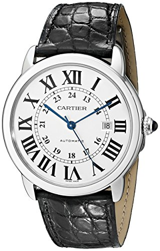 Cartier Men's Ronde Solo De Cartier 42mm Black Leather Band Steel Case Automatic White Dial Watch W6701010