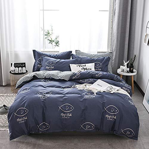 THJT Bettwäsche aus 100% Baumwolle - Bettwäsche-Set - gestreifter Bettbezug - 4 STÜCKE (1 Bettbezug, 1 Bettlaken, 2 Kissenbezüge) (Farbe : G, größe : 200 * 230cm) -