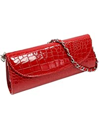 TOOGOO(R) New Fashion Wallet Chain Shoulder Cross-body Bag Women Clutches Stone Pattern Leather Women Wallet-red