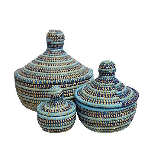 EA Déco Naturel & Design ABBSTBLE Les Les Boites Thiapou, Plastique, Tricolore Bleu, 20 x 20 x 20 cm