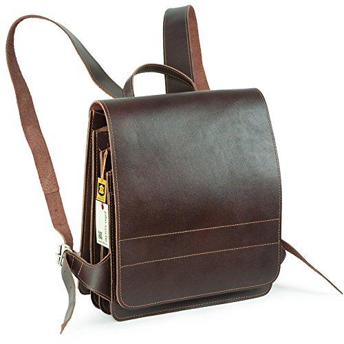 Mittel-Großer Lederrucksack / Lehrerrucksack Größe M aus Leder, für Damen und Herren, Braun, Jahn-Tasche 668