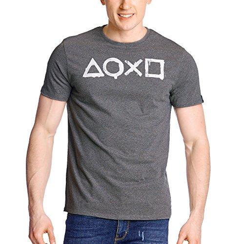 Preisvergleich Produktbild PlayStation Herren T-Shirt Controller Action Buttons grau - L