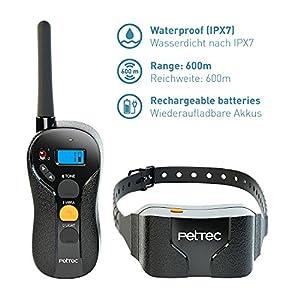 PetTec Collier de dressage et anti-aboiement pour chien par vibration ou signal sonore, avec télécommande, portée de 600m, rechargeable et étanche