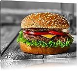 appetitlicher Cheeseburger schwarz/weiß Format: 80x60 auf Leinwand, XXL riesige Bilder fertig gerahmt mit Keilrahmen, Kunstdruck auf Wandbild mit Rahmen, günstiger als Gemälde oder Ölbild, kein Poster oder Plakat