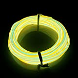 Lerway® 3M EL Wire Rope Landscape Lighting Weihnachten Licht Party Autobatterie beleuchtet flexibles Streifen-Licht Gelb