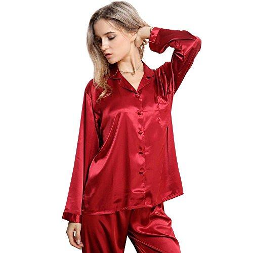 Ensemble de Pyjama en Satin à Manches Longues pour Femmes XS~3XL plus Wine Red