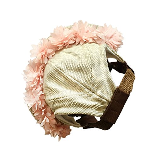 Baoblaze 1 Stk. Elegante Haustier Kappe, Zusatz Hut und Hundekappe für formelle Zeremonien - Farbe Auswählen - Rosa Blumen, M