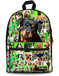 HUGSIDEA Cool Dog Rottweiler Printed Kids Bookbag Lightweight Durable Child School Bag Animal Back Pack For Teenage...
