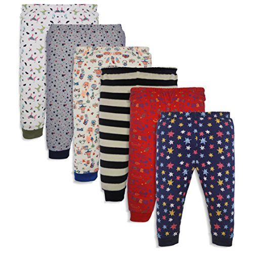 Minicult Cotton Baby Pajama Pants Unisex with Rib (Pack of 6) (CRPS001_Multicolor_6-9 Months)