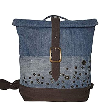 Roll Top Nieten Rucksack Frauen mit Fronttaschen Denim Daypack mit Überschlag Tagesrucksack aus Jeansstoff blau & khaki Jeanstasche für Frauen Reisetasche