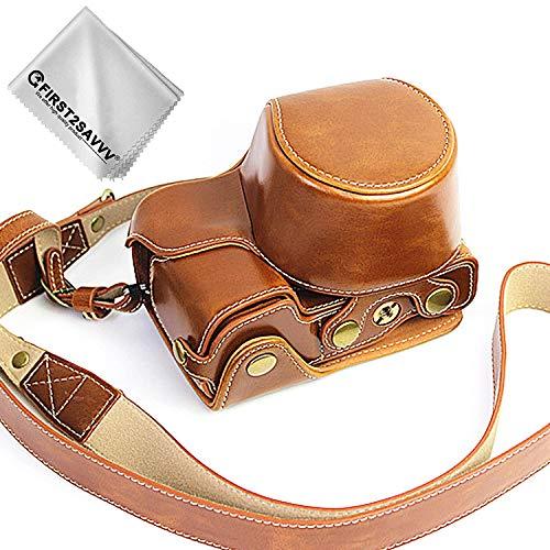 First2savv Braun Premium Qualität Ganzkörper- präzise Passform PU-Leder Kameratasche Fall Tasche Cover für Sony Alpha 6400 6300 A6400 A6300 ILCE6400 ILCE6300 mit 16-50mm Lens -