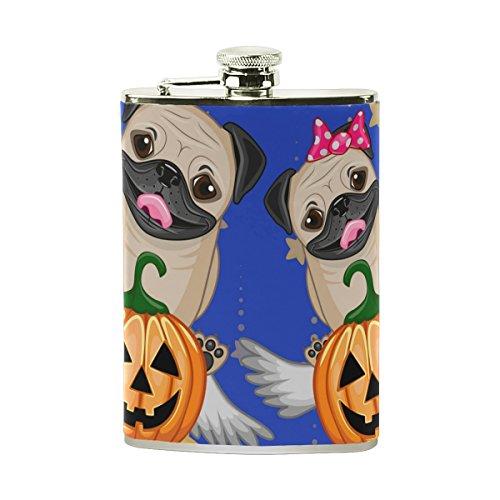 COOSUN Halloween Hunde mit Pumpkins Trinkflasche mit PU-Leder umwickelt, Edelstahl Leak Proof Alkohol-Hüfte-Flasche, 8 Unzen Mehrfarben -
