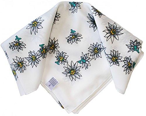 Halstuch Trachtentuch Polyester Edelweiss-muster nikituch 50x50cm 11x Farbtöne, Frabe:Weiß