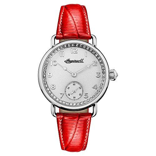 Reloj Cuarzo Ingersoll para Hombre con Blanco Analogico Y Rojo Cuero I03601