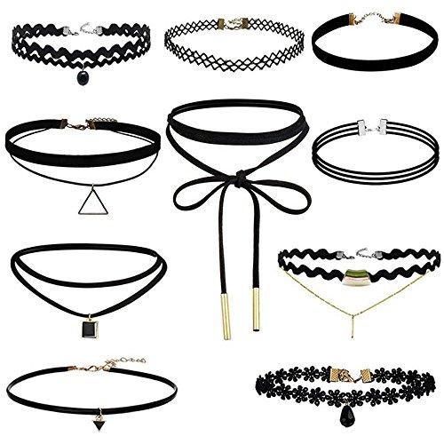 YAOYUE Damen Hoker Halskette Velvet Spitze Choker Halsketten Tattoo Punk Gothic Halsband Pendant Vintage schwarz, wählen Sie Sätze