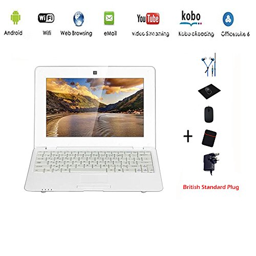 G-Anica® Netbook Laptop PC Ultrabook Android 4.4 HDMI écr.10 (Wifi-SD-MMC), Laptop Bag + Mouse + Mouse Pad + Earphone (4 PCS Accessories) (White)