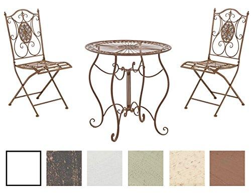 CLP Ensemble de Jardin Aldeano en Fer - Table et 2 Chaises Pliables Design Antique Nostalgique - Meubles de Jardin - Set de Jardin - Couleur: Marron Antique
