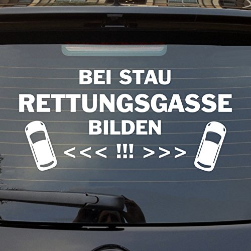 Auto Aufkleber in deiner Wunschfarbe Bei Stau Rettungsgasse bilden! Heckscheibenaufkleber 55x26 cm Autoaufkleber Sticker