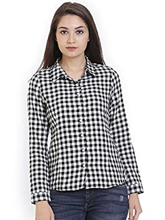 POISON IVY Women's Checkered Casual Black Cotton Shirt (BLACK-WHITE, Small)