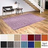 Shaggy-Teppich | Flauschige Hochflor Teppiche für Wohnzimmer Küche Flur Schlafzimmer oder Kinderzimmer | Einfarbig, schadstoffgeprüft, allergikergeeignet (Lila Pastell, 300 x 400 cm)