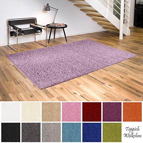 Teppich Wölkchen Shaggy-Teppich | Flauschige Hochflor Teppiche für Wohnzimmer Küche Flur Schlafzimmer oder Kinderzimmer | Einfarbig, schadstoffgeprüft, allergikergeeignet (Lila Pastell, 140 x 200 cm)
