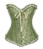 Miss Moly Klassische Korsett Damen Vintage Vollbrust Corsage Borte Schleife Design Mehrfabrig Corset mit G-Tanga