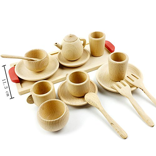 Best for baby Beech Wooden Pretend Play Tea set Wooden toys Montessori toys Toddler Game Childen toys