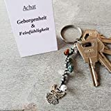 Schlüsselanhänger, Taschenbaumler, Kettenschmeichler, Edelstein Achat, Tatting, Occhi