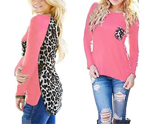 Eleganz Tunika (Hippolo Damen Oberteile Langarmshirt Leopard Patchwork Lässig T-Shirt Hemdbluse Lose Bluse Tunika Tops mit Tasche (5XL, Pink))