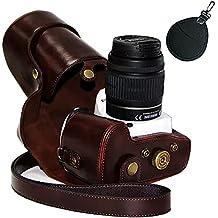 First2savvv XJPT-K30-10pal0201 Funda Cámara cuero de la PU cámara digital bolsa caso cubierta con correa para Pentax K5II K5IIS K30 K50 lente with 18-55 18-135 mm lens marron oscuro + UV Bolsa de lente