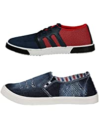 STYLIVO Men's Canvas Red & Denim Blue Loafers & Sneakers Shoes (Pack Of 2)