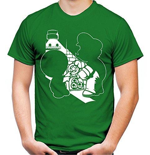 Mario Dealer Männer und Herren T-Shirt   Super Kult Retro Nintendo Geschenk (M, Grün)