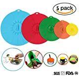 Oucles Colourful Silicone Fresh Cover lids Food Cover Reusable 5 Set Application for Oven Microwave Freezer Dishwasher Safe BPA Free