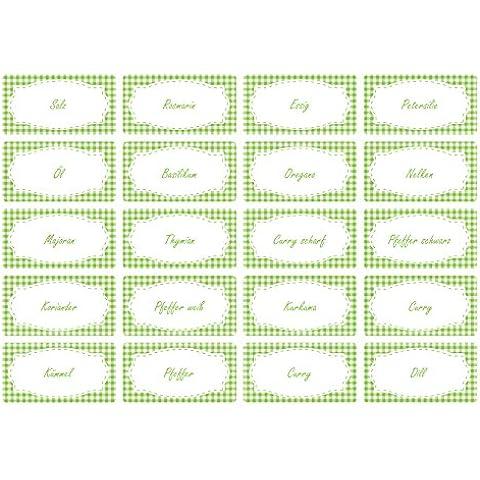Il-Label 65x spezie | Design Vichy | in 19colori | barattolo etiketten| bilancio etichette verde chiaro
