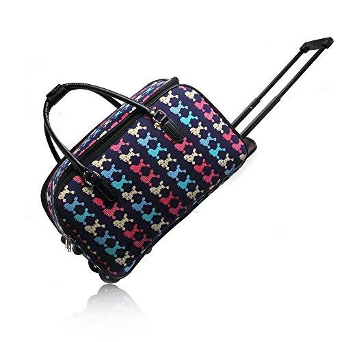 LeahWard® Mittlere Größe Reisetasche Handgepäck Wagen Wochenendeleicht zu EndeAusgehabend Tasche mit Rads Marine POODLE DOT