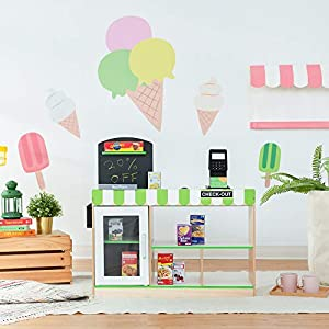 Teamson Kids- Cashier Market Stand supermercado de Juguetes, Color Verde (TD-13206B)