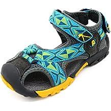 Bwiv sandalias velcro para niño con plantillas forradas de piel sandalias de playa duraderas de las tallas 24-37