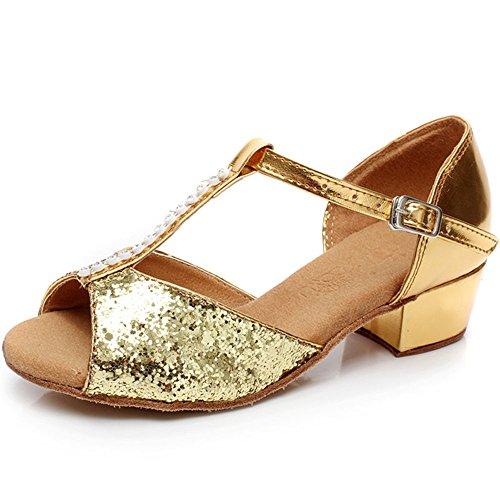 VanMe Kinder Latin Tanzschuhe glänzende Kinder tanzen Schuhe Low-Heel Frauen erwachsene Tanzschuhe ( Color : Gold , Größe : 34 (Erwachsene Sexy Schuhe Gold)