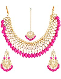 Pink Pearl Gold Plated Kundan Set Engagement Necklace Set Diwali Gift For Mom Heavy Set For Women Indian Tradition...