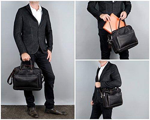 HEILEMANN Aktentasche DIN A4 Businesstasche Lehrertasche Notebooktasche 15,6 Zoll Collegetasche Ledertasche Henkeltasche Bürotasche für Damen & Herren aus echtem Leder 39x30x12cm HE3003 Dunkelbraun