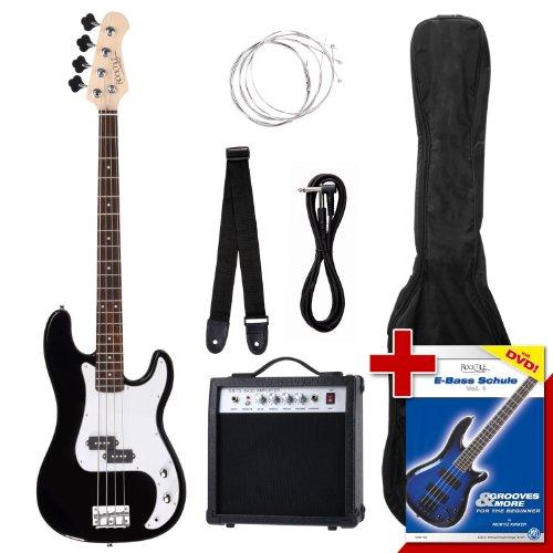 Rocktile Groover\'s Pack PB E-Bass Komplettset Schwarz (Verstärker, Tasche, Kabel, Gurt, Ersatzsaiten und Schule mit DVD)