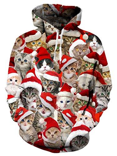 Katzen-Hoodie, Chicolife herren damen Weihnachten kreative kleine persische Santa Katzen Hoodie Baby Kitty Emotion Sweatshirt Pullover Pullover für Mädchen Damen XXL