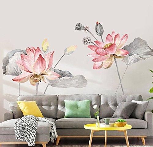 Reyqing adesivi, fiori di loto, adesivi, sala le pareti, muri, pareti, decorazioni, camera da letto, carta da parati appiccicosa, lo sfondo del monitor al posto letto adesivi,grande