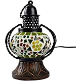SAARTHI Rajasthani Handcrafted Traditional Wooden Glass Mosaic Wall Hanging Decorative Table Lamp/ Lantern Show Piece For Living Room Hanging Lamp/Lalten / Night Lamp - 12x9x18 Cm