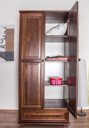 Landhaus-Stil Kiefer-Kleiderschrank, Farbe: Nuss 190x80x60 cm