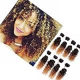 Eunice Hair, extension ricce con shatush colore # 60e colore # 18, 8 matasse da circa 20 cm