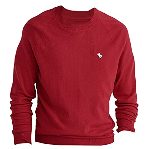 Abercrombie - Homme - Wool-Blend Slim Fit Sweater Pull Sweatshirt Longue - Taille Large - Rouge (624316062)